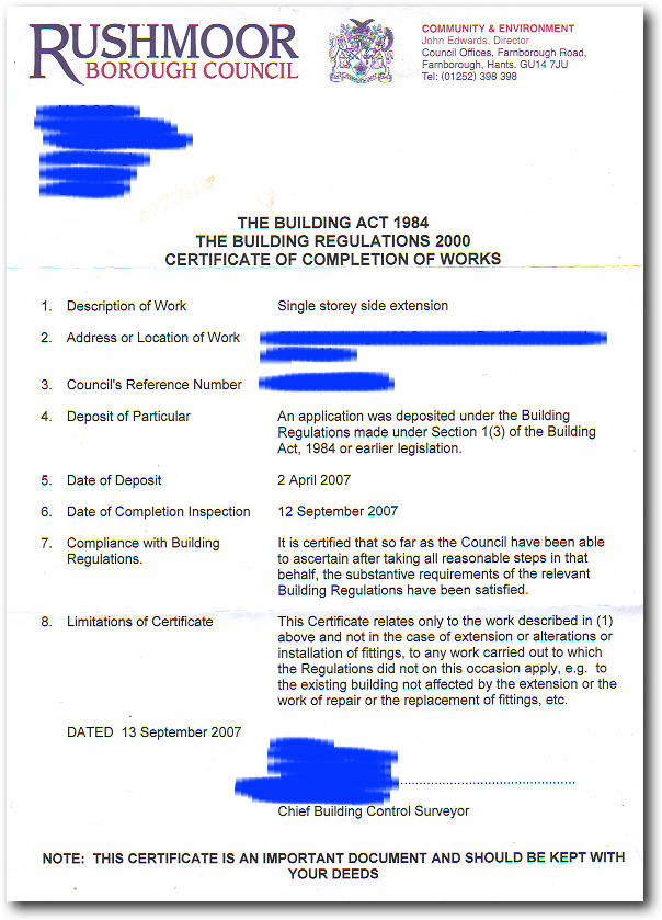 Certificate Of Completion My House Extension